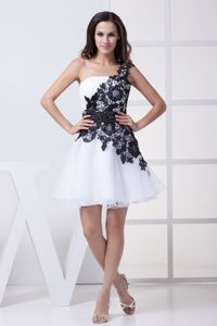 One Shoulder Flowers Short White Beaded Cocktail Dress with Sash