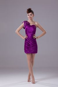 One Shoulder Short Ruched Eggplant Purple Prom Cocktail Dresses