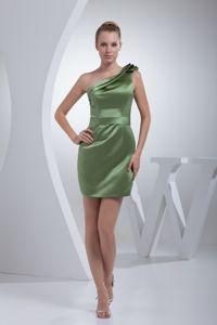 One Shoulder Mini-length Olive Green Cocktail Dresses with Layers