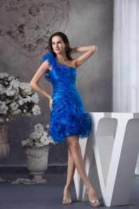 One Shoulder Short Blue Ruched Prom Cocktail Dresses with Layers