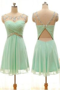 Sumptuous Apple Green Sleeveless Beading Knee Length Cocktail Dresses