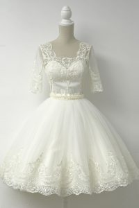 Fantastic Square Half Sleeves Cocktail Dress Knee Length Lace White Tulle