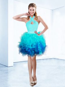 Cute Organza Halter Top Sleeveless Zipper Ruffles and Ruching and Belt Cocktail Dresses in Aqua Blue