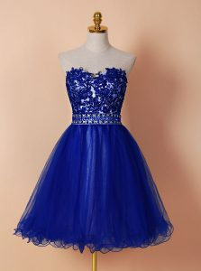 Knee Length Zipper Club Wear Royal Blue for Prom with Beading and Appliques