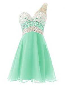One Shoulder Sleeveless Knee Length Beading Criss Cross Cocktail Dresses with Apple Green