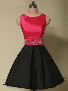 High Class Satin Scoop Sleeveless Lace Up Beading Cocktail Dresses in Red And Black