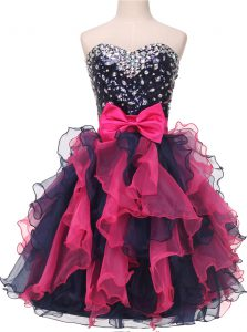 Edgy Multi-color Ball Gowns Sweetheart Sleeveless Organza Knee Length Lace Up Beading and Ruffles and Bowknot Cocktail Dresses