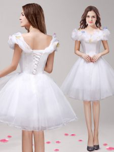 Dynamic Off the Shoulder White Sleeveless Tulle Lace Up Club Wear for Prom and Party