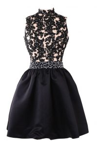 Fantastic Black Sleeveless Satin Backless Cocktail Dress for Prom