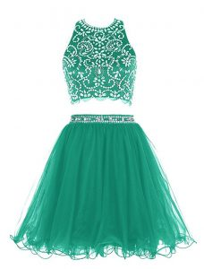 Designer Scoop Sleeveless Chiffon Mini Length Clasp Handle Cocktail Dresses in Green with Beading