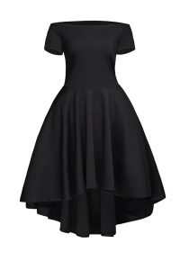 Shining Black Satin Side Zipper Cocktail Dress Short Sleeves Tea Length Ruching