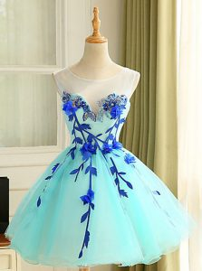 Pretty Scoop Sleeveless Club Wear Mini Length Beading and Appliques Blue Organza
