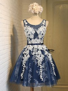 Elegant Scoop Appliques Cocktail Dresses Navy Blue Lace Up Sleeveless Knee Length