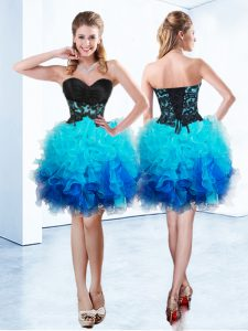 Sweetheart Sleeveless Organza Cocktail Dresses Ruffles Lace Up
