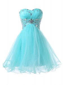 Vintage Blue Lace Up Sweetheart Beading Cocktail Dresses Organza Sleeveless