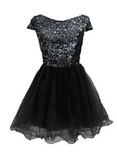 Fashion Cap Sleeves Mini Length Sequins Zipper Cocktail Dress with Black