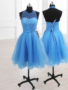 Pretty High-neck Sleeveless Cocktail Dresses Knee Length Sequins Baby Blue Organza