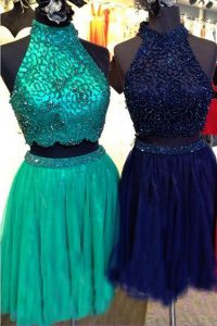 Glorious Turquoise Zipper High-neck Beading Cocktail Dress Tulle Sleeveless