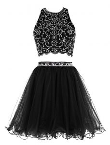 Scoop Black Sleeveless Chiffon Clasp Handle Cocktail Dresses for Prom and Party
