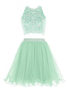 Exquisite Halter Top Apple Green Sleeveless Organza Clasp Handle Cocktail Dress for Prom and Party