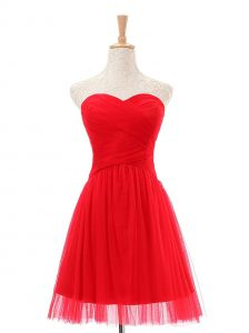 Red Sweetheart Zipper Ruching Cocktail Dresses Sleeveless