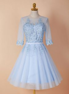 Deluxe Scoop Light Blue Half Sleeves Organza Backless Club Wear for Prom