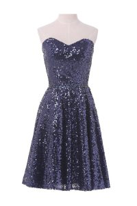 Cheap Sequins Sweetheart Sleeveless Lace Up Cocktail Dresses Navy Blue Sequined