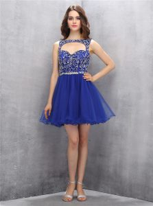 Captivating Sleeveless Organza Mini Length Zipper Cocktail Dresses in Royal Blue with Beading