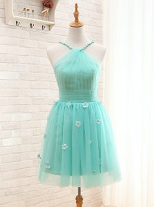 Aqua Blue A-line Straps Sleeveless Tulle Mini Length Lace Up Hand Made Flower Cocktail Dress