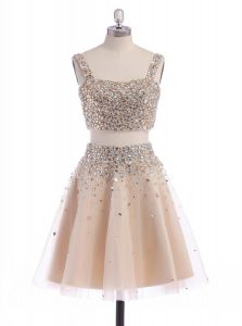 Straps Champagne Organza Zipper Cocktail Dress Sleeveless Mini Length Beading