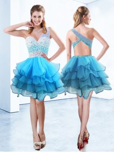 Aqua Blue A-line Organza One Shoulder Sleeveless Beading and Ruffled Layers Knee Length Criss Cross Club Wear