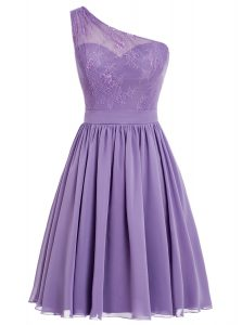 Nice One Shoulder Sleeveless Side Zipper Cocktail Dresses Lavender Chiffon