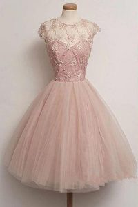 New Style Pink A-line Tulle Scoop Cap Sleeves Appliques Knee Length Zipper Club Wear