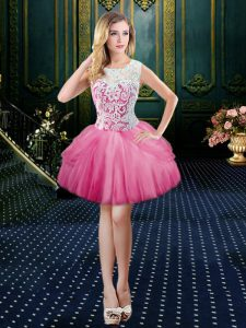 Hot Pink Ball Gowns Scoop Sleeveless Tulle Mini Length Clasp Handle Lace Club Wear
