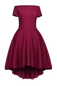 New Style Bateau Short Sleeves Cocktail Dresses Tea Length Ruching Burgundy Satin