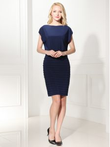 Ideal Silk Like Satin Bateau Cap Sleeves Zipper Ruffles Cocktail Dresses in Navy Blue