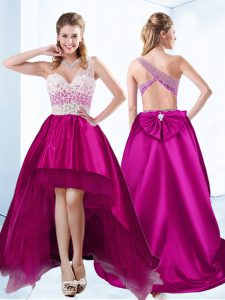 Wonderful Fuchsia Ball Gowns Sweetheart Sleeveless Satin High Low Criss Cross Beading Cocktail Dresses