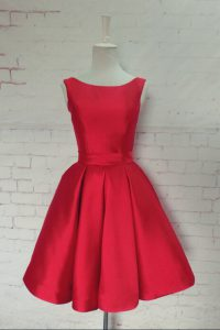 Bowknot Cocktail Dresses Red Backless Sleeveless Knee Length