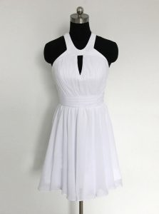Superior White Halter Top Neckline Ruching Cocktail Dress Sleeveless Zipper