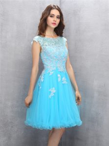 Vintage Scoop Beading and Appliques Cocktail Dress Blue Zipper Cap Sleeves Knee Length