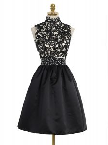 Sleeveless Satin Mini Length Zipper Cocktail Dresses in Black with Beading and Appliques