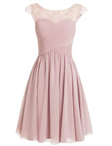 Classical Scoop Cap Sleeves Zipper Cocktail Dresses Pink Chiffon