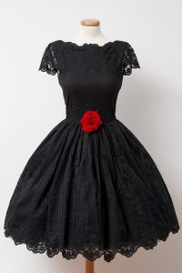 Lace Black Club Wear Prom and Party with Hand Made Flower Bateau Cap Sleeves Backless