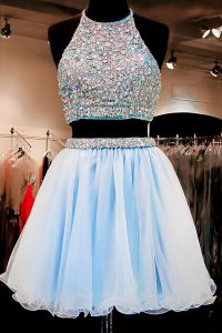 Exquisite Chiffon Halter Top Sleeveless Backless Beading Cocktail Dresses in Light Blue