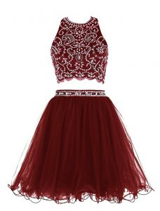 Scoop Burgundy Sleeveless Beading Mini Length Cocktail Dresses
