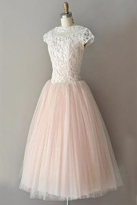 Best Knee Length Pink Cocktail Dress Tulle Cap Sleeves Lace