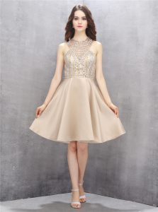 Elegant Sleeveless Criss Cross Knee Length Beading Club Wear