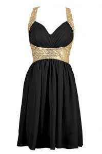 Sequins Cocktail Dresses Black Criss Cross Sleeveless Knee Length