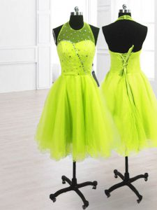 Adorable Sequins High-neck Sleeveless Lace Up Cocktail Dresses Yellow Green Organza