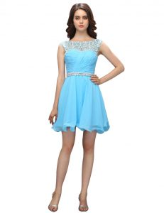 Fitting Baby Blue Organza Zipper Cocktail Dresses Sleeveless Knee Length Beading and Ruching